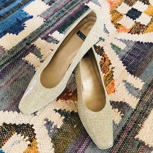 Stuart Weitzman cream and Ivory Square Heels